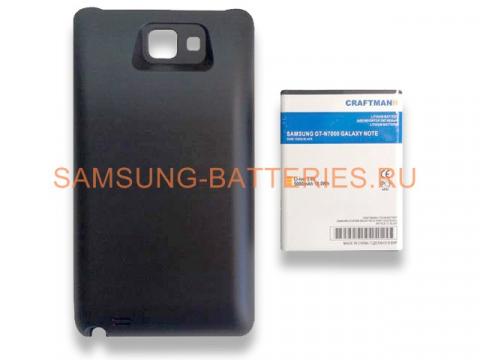 Аккумулятор повышенной емкости для Samsung Galaxy Note (GT-N7000) в комплекте с крышкой черного цвета